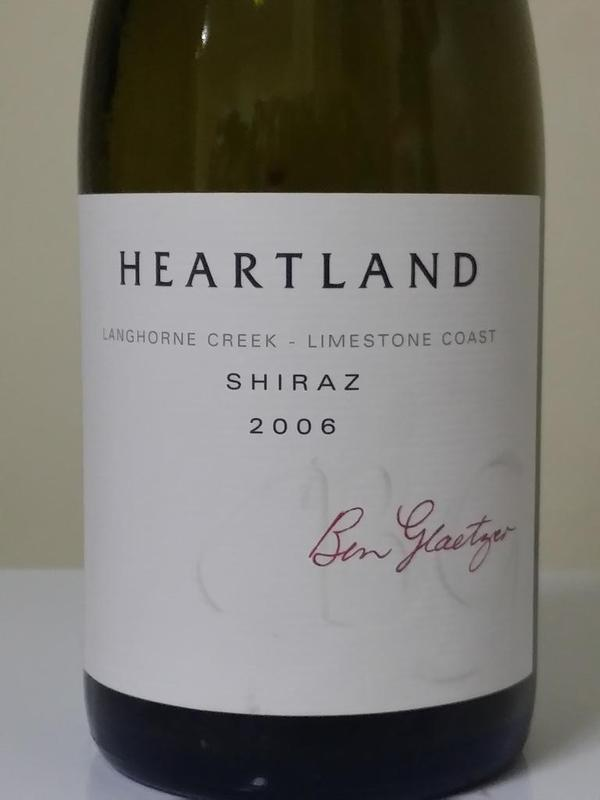 2006 Heartland Shiraz. 9 years of age